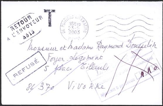 lettre non affranchie Timbre avec mention RETOUR A L'ENVOYEUR et numéro de bureau lettre non affranchie